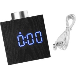USB Digital Snooze LED Alarm Clock Time Thermometer Temperature Meter Blue