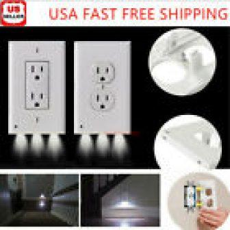 1/5/10Pcs Duplex Decor Night Light Sensor LED Plug Cover Wall Outlet Cover...