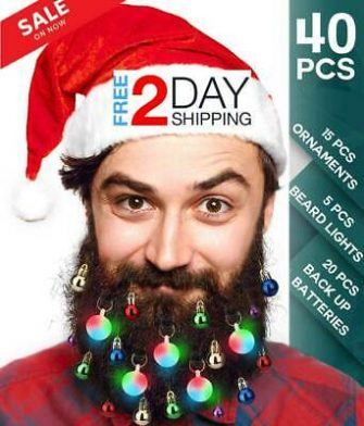 40PCS Christmas Beard Lights Ornaments Glitter Kit 2019 with Jewelry Baubles NEW