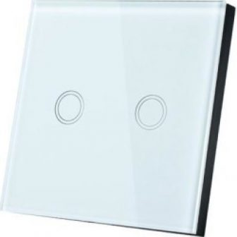 AC 110-240V 1 Way 2 Gang Panel Wall Light Touch Switch White...