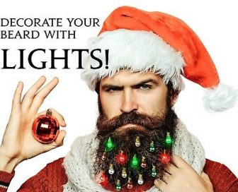 Beardaments Lights- Light Up Beard Ornaments, 16pc Christmas Facial Hair Baubles