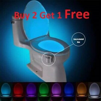 Bowl Bathroom Toilet Night LED 8 Color Lamp Sensor Lights Motion Activated...