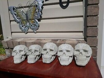 Halloween decore, fireplace, gas pit , propane skull set of 4,lot 4,...