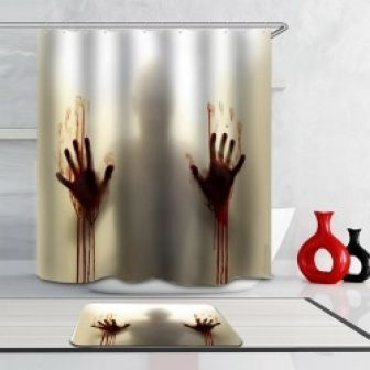 Men's Bloody Hands Shadow Shower Curtain