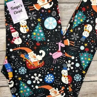 PLUS Christmas Santa Claus Sleigh Leggings Snowmen Snowflake Holiday 10-18 TC