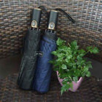 Sun Rain Umbrella Automatic Parasol Windproof 10 Ribs Leather Handle 3 Folding