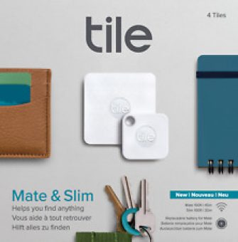 Tile Bluetooth Tracker : Replaceable battery : Combo (Slim & Mate) -...