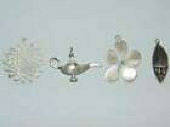Vintage Artisan Sterling Silver Large Flower Lamp Fractal Pendant Round Ornate
