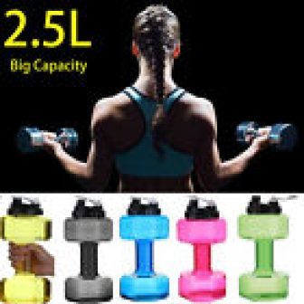 Water Bottle 2.5L Dumbbell Shaped Sport Drink Exercise Gym Protein Shake Workout