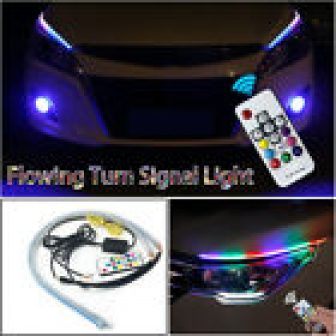 Water Colorful Remote Control LED Strip DRL Car Soft Tube Turn Signal...